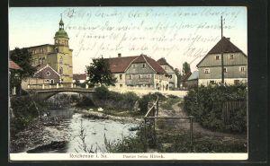 Goldfenster-AK Reichenau, Partie beim Hirsch und Häuser mit leuchtenden Fenstern