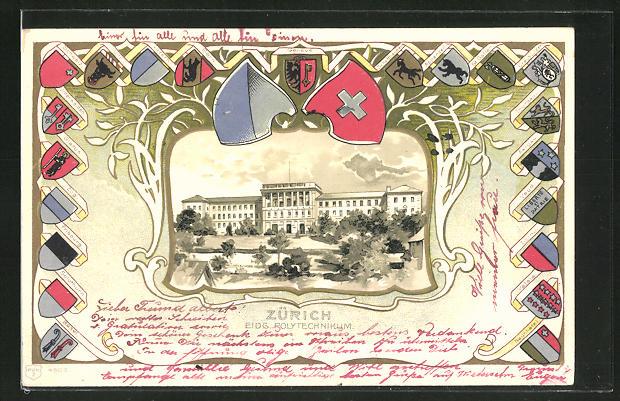 Passepartout-Lithographie Zürich, Blick zum Eidg. Polytechnikum, Wappen