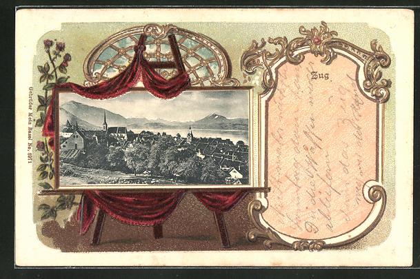 Passepartout-Lithographie Zug, Gesamtansicht im Gemälde mit Rahmen und Vorhang
