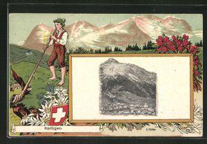 Passepartout-Lithographie Splügen, Panorama mit Alphornbläser und Edelweis