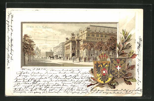 Passepartout-Lithographie Wien, Partie mit Hofoper, Wappen