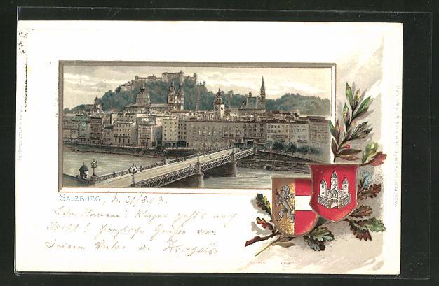 Passepartout-Lithographie Salzburg, Panorama und Wappen