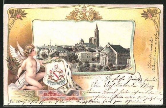 Passepartout-Lithographie Strassburg, Panorama und Putto mit Wappen