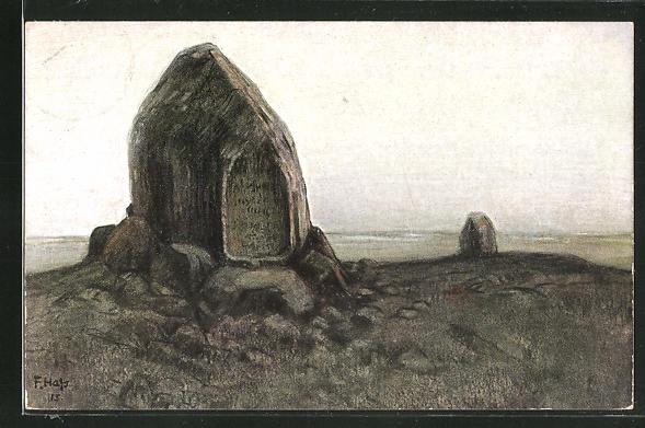 Künstler-AK Fritz Hass: Tannenberg, Gedächtnisstein auf dem Schlachtfeld