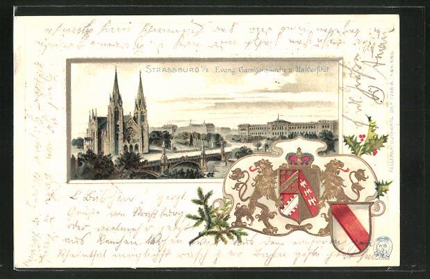 Passepartout-Lithographie Strassburg, Blick zur Evang. Garnisonskirche und Universität, Wappen