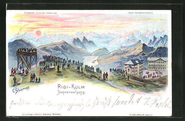 Künstler-AK C. Steinmann: Rigi-Kulm, Panorama bei Sonnenaufgang