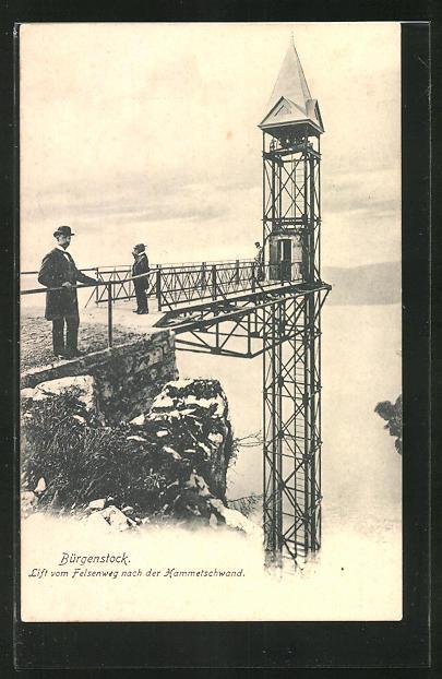 AK Bürgenstock, Lift vom Felsenweg nach der Hammetschwand