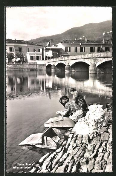 AK Ponte Tresa, Wäscherinnen am See