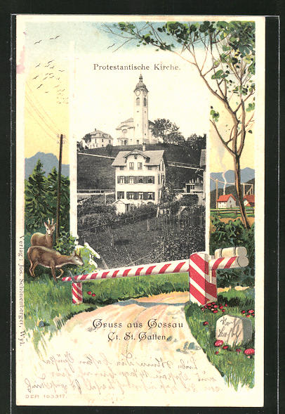Passepartout-Lithographie Gossau, Protestantische Kirche