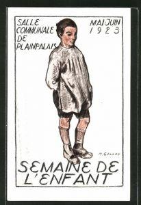 Künstler-AK Geneve-Plainpalais, Semaine de L'Enfant 1923, Salle Communale