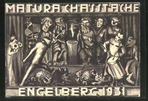 Künstler-AK Engelberg, Absolvia Matura Chasstache 1931