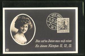 AK Bildnis einer jungen Frau, das seltene Datum 11.12.13