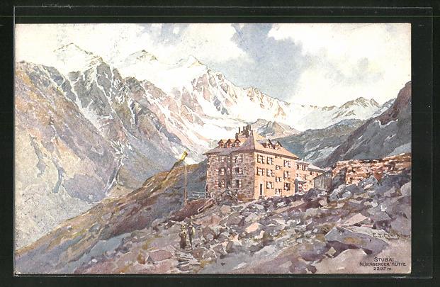 Künstler-AK Edward Theodore Compton: Nürnberger-Hütte, Stubai