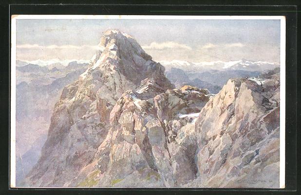 Künstler-AK Edward Theodore Compton: Watzmann, Mittelspitze