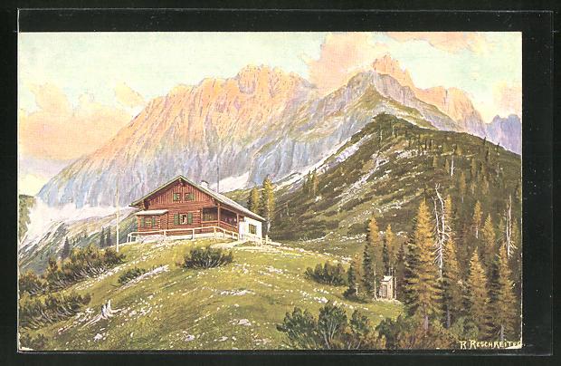 Künstler-AK Rudolf Reschreiter: Hochlandhütte gegen Wörner