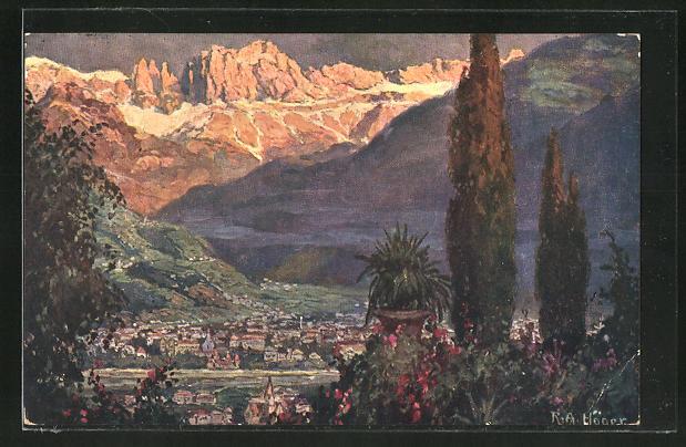 Künstler-AK Rudolf Alfred Höger: Bolzano, col Catinaccio