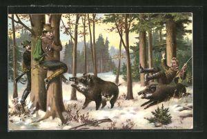 AK Jäger flüchtet vor Wildschwein auf Baum