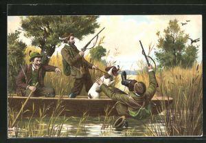AK Jäger stürzt bei Entenjagd in's Wasser