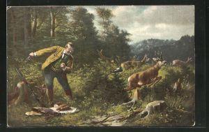 AK Jäger gönnt sich Geflügelbraten im Wald, schwebende Weinflasche