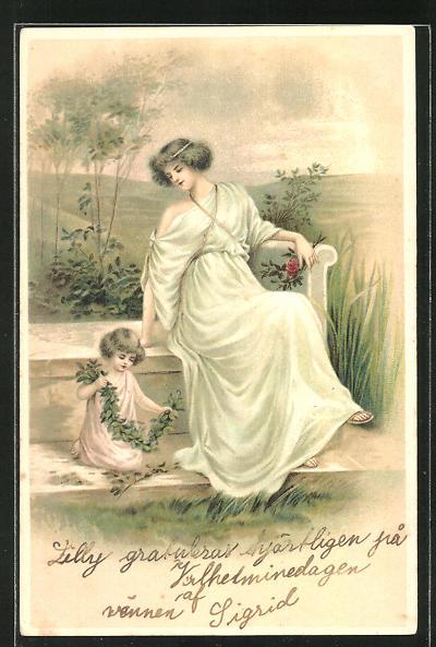 AK Frau mit Kind auf einer Treppe, Jugendstil