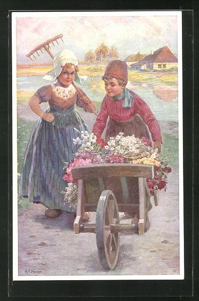 Künstler-AK Rudolf Alfred Höger: Holländische Kinder mit Blumenkarre