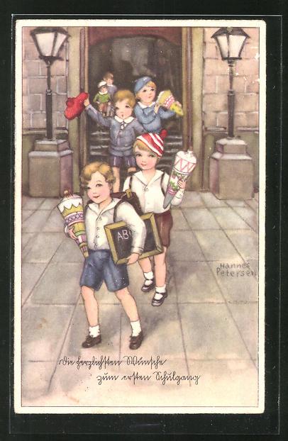 Künstler-AK Hannes Petersen: Kinder mit Schultüte beim ersten Schulgang