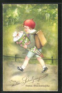 Künstler-AK Hannes Petersen: kleiner Junge mit Schultüte und Ranzen beim ersten Schulgang
