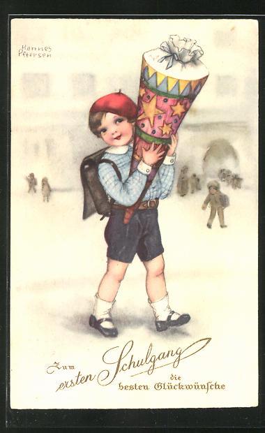 Künstler-AK Hannes Petersen: Junge mit Ranzen und Schultüte beim ersten Schulgang