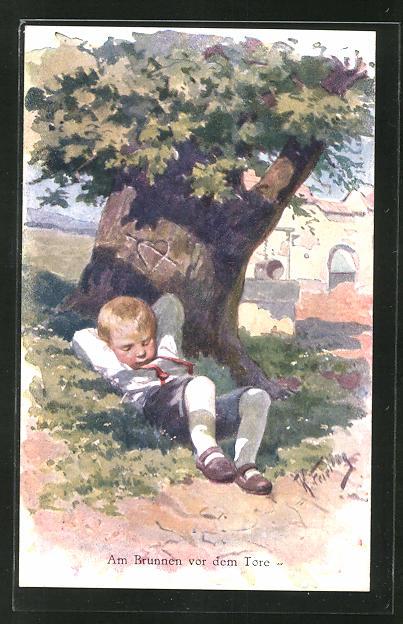 Künstler-AK Karl Feiertag: Junge unter einem Baum schlafend