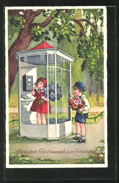 AK Mädchen telefoniert in einer Telfonzelle