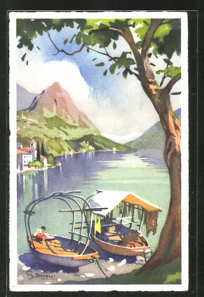 Künstler-AK S. Bonelli: Lago di Lugano