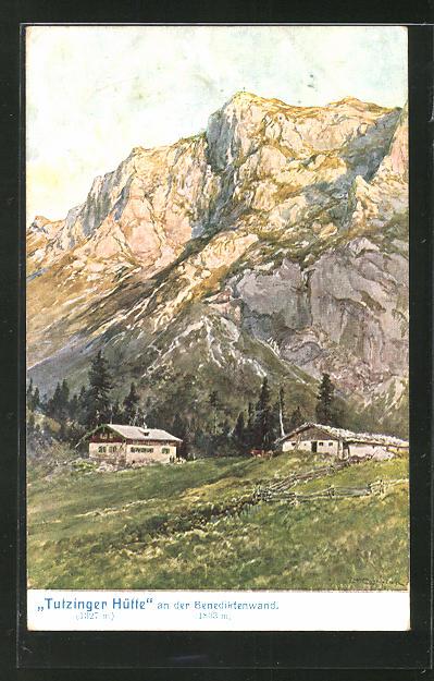 Künstler-AK Edward Theodore Compton: Tutzinger Hütte an der Benediktenwand