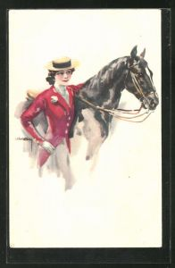 Künstler-AK Luis Usabal: Reiterin mit ihrem Pferd