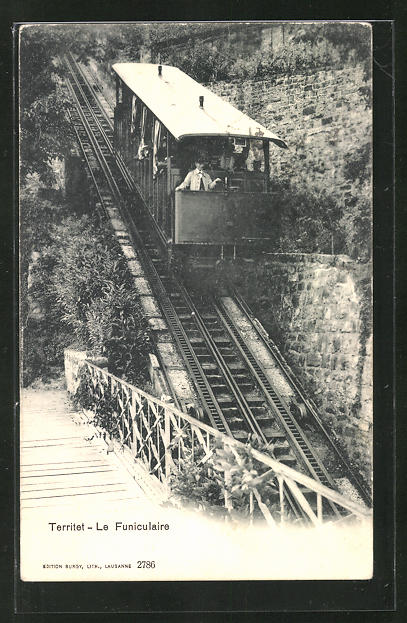 AK Bergbahn Territet auf dem Weg zur Talstation