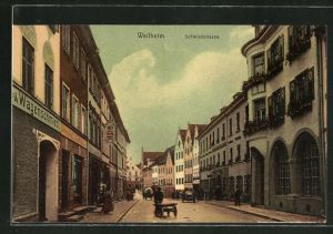 AK Weilheim, Schmiedstrasse mit Geschäften & Häuserzeilen