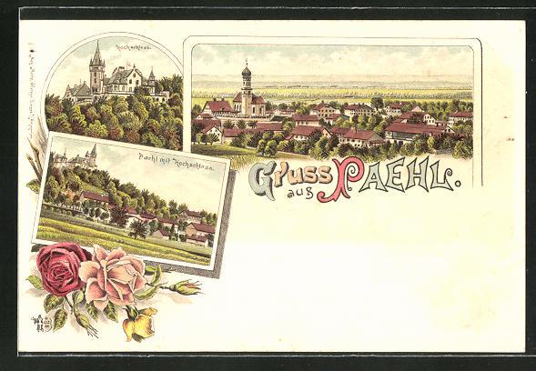 Lithographie Pähl, Hochschloss, Panoramablick auf den Ort