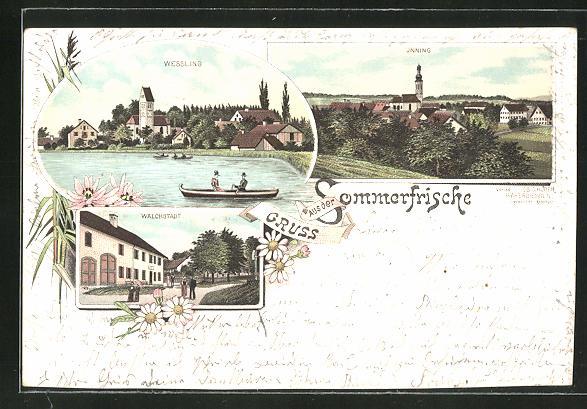 Lithographie Wessling, Ortsansicht mit Walchstadt und Inning