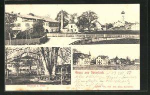 AK Sauerlach, Gasthaus zur Post, Ortspartie mit Blick zur Kirche