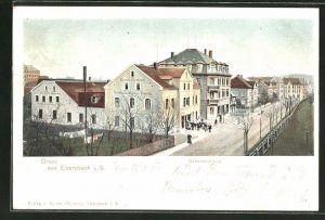 AK Ebersbach i. S., Bahnhofstrasse mit Geschäftsbücher-Fabrik von Bernh. Clemens