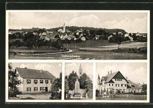 AK Dettenschwang, Gasthaus zur Post, Schule, Kriegerdenkmal, Totalansicht