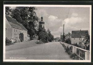 AK Zuschendorf, Strassenpartie an der Kolonialwarenhandlung