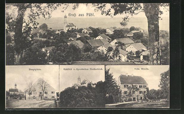 AK Pähl, Villa Wrede, Hauptplatz, Gräflich v. Spretisches Hochschloss