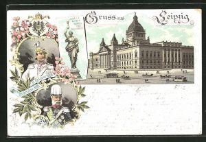 Lithographie Leipzig, Reichsgericht und Portraits Kaiser Wilhelm II. & König von Sachsen