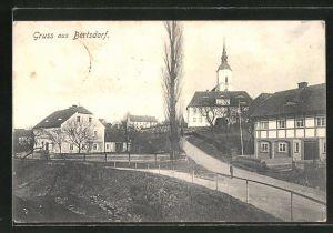AK Bertsdorf, Ortspartie mit Blick zur Kirche