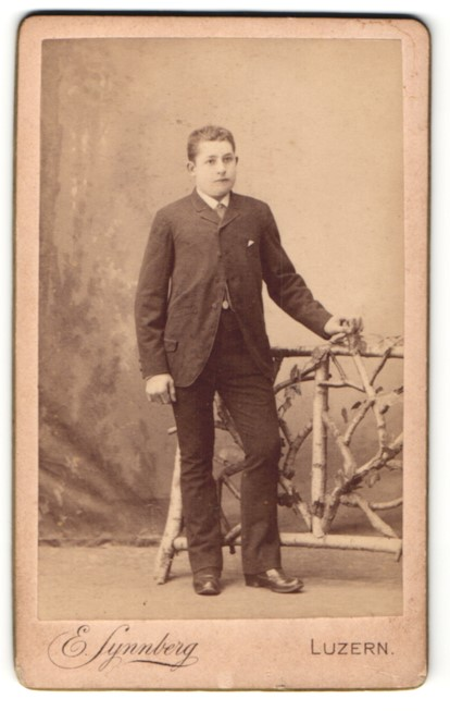 Fotografie E. Synnberg, Luzern, Portrait junger Herr in Anzug
