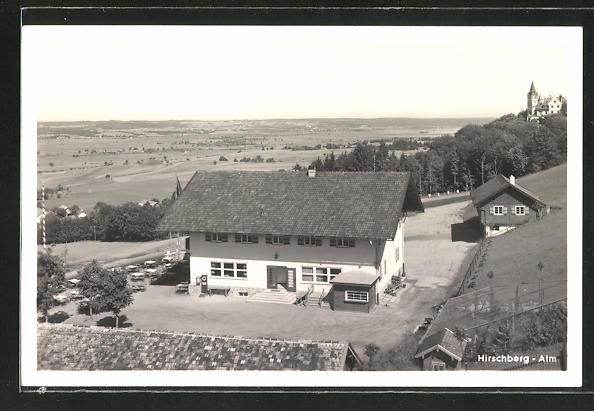 AK Pähl, Gasthaus Hirschberg Alm mit Terrasse