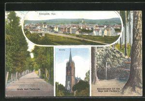 AK Königsee / Thür., Ortsansicht, Strasse nach Paulinzella, Kirche und Gesundbrunnen auf dem Wege nach Paulinzella