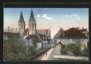 AK Mühlhausen in Thür., Blick auf Diakonat und Untermarktkirche