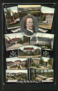 AK Herrnhut, Schwesternhaus, Brüderhaus, Zinzendorf-Gräber