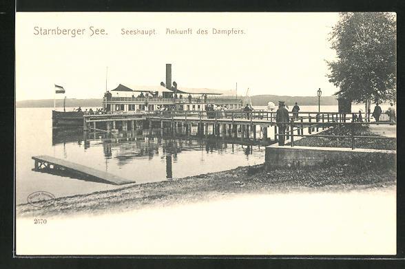AK Seeshaupt / Starnberger See, Ankunft des Dampfers